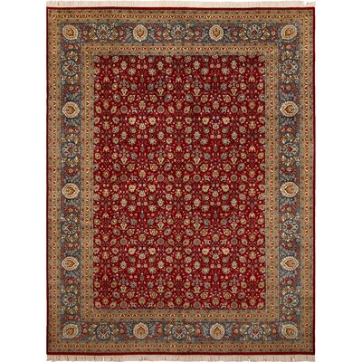 Bellomy Hand-Knotted Wool Red/Teal Area Rug