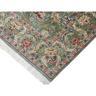 Bellomy Hand-Knotted Wool Green/Red Area Rug