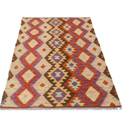 One-of-a-Kind Bakerstown Kilim Hand-Woven Wool Red/Pink Area Rug