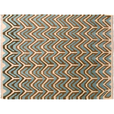 One-of-a-Kind Siona Kilim Hand-Woven Ivory/Blue Area Rug