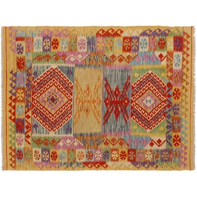 One-of-a-Kind Bakerstown Kilim Hand-Woven Gold/Blue Area Rug