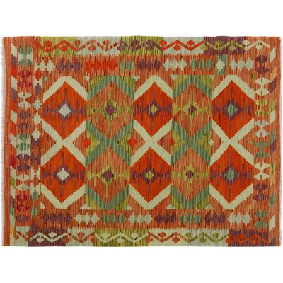One-of-a-Kind Bakerstown Kilim Hand-Woven Rust/Ivory Area Rug