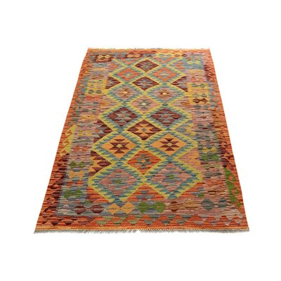 One-of-a-Kind Bakerstown Kilim Hand-Woven Rust/Blue Area Rug