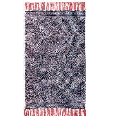 One-of-a-Kind Pickney Hand-Woven Cotton Navy Area Rug