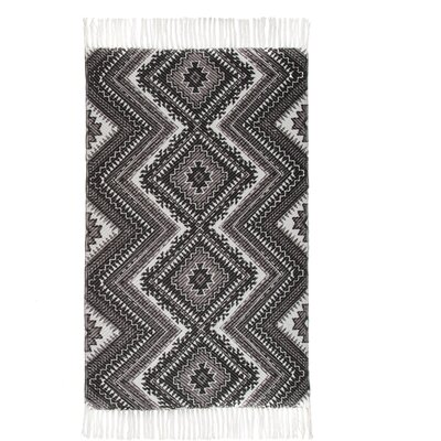 One-of-a-Kind Reims Hand-Woven Cotton Dark Gray Area Rug