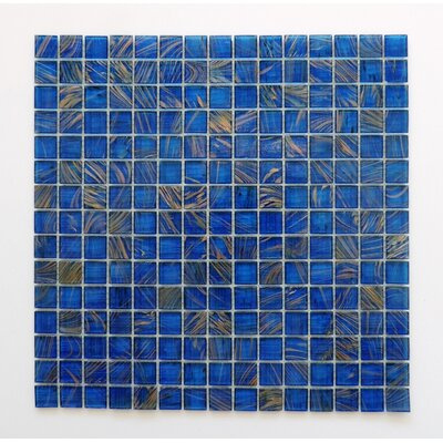 Amsterdam 0.78 x 0.78 Glass Mosaic Tile in Ocean Blue Gold Dust