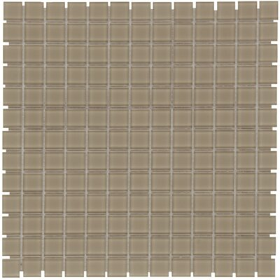 Montreal 0.9 x 0.9 Glass Mosaic Tile in Clear Taupe