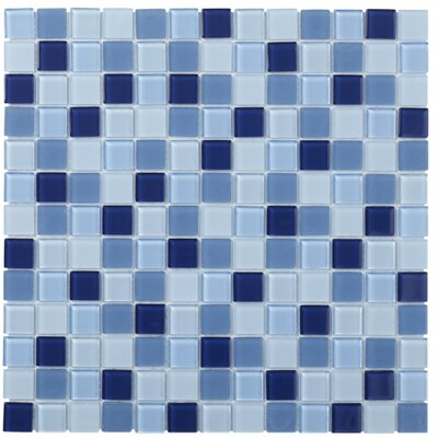 Montreal 0.9 x 0.9 Glass Mosaic Tile in Blue
