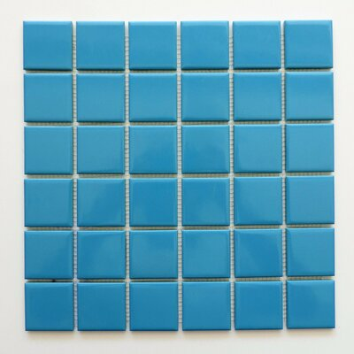 Barcelona Glossy 1.9 x 1.9  Porcelain Mosaic Tile in Light Blue