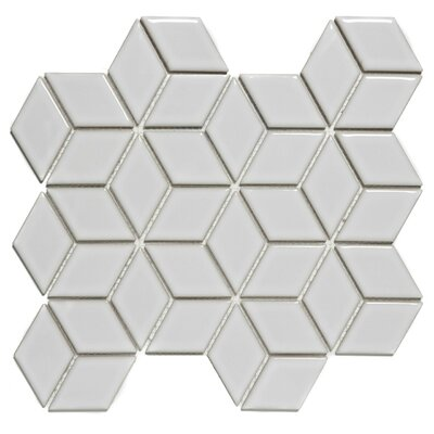 Paris Rhombus Glossy 1.9 x 3.19  Porcelain Mosaic Tile in White