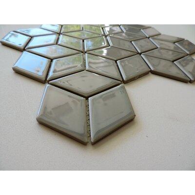 Paris Rhombus Glossy 1.9 x 3.19 Porcelain Mosaic Tile in Gray