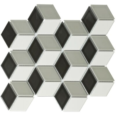 Paris Rhombus Glossy 1.9 x 3.19 Porcelain Mosaic Tile in Mix Black White And Gray
