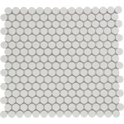 Venice Penny Glossy 0.75 x 0.75 Porcelain Mosaic Tile in Bright White