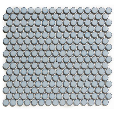 Venice Penny Retro Edge Glossy 0.75 x 0.75 Porcelain Mosaic Tile in Blue