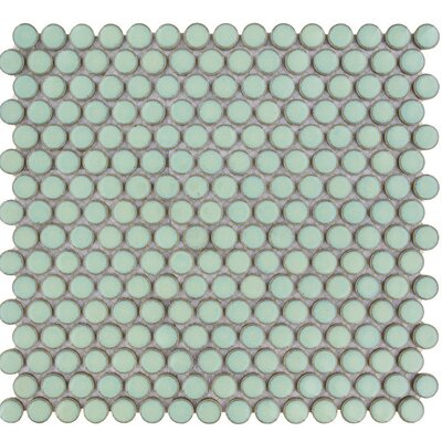 Venice Penny Retro Edge Glossy 0.75 x 0.75 Porcelain Mosaic Tile in Green