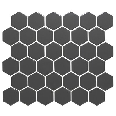 Barcelona Hexagon Glossy 2 x 2.32 Porcelain Mosaic Tile in Gray