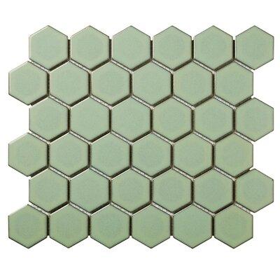 Barcelona Hexagon Retro Edge Glossy 2 x 2.32 Porcelain Mosaic Tile in Green