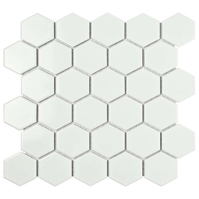 Barcelona Hexagon Glossy 2 x 2.32 Porcelain Mosaic Tile in Bright White