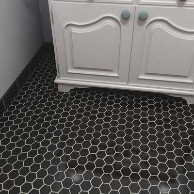 Barcelona Hexagon Glossy 2 x 2.32 Porcelain Mosaic Tile in Black