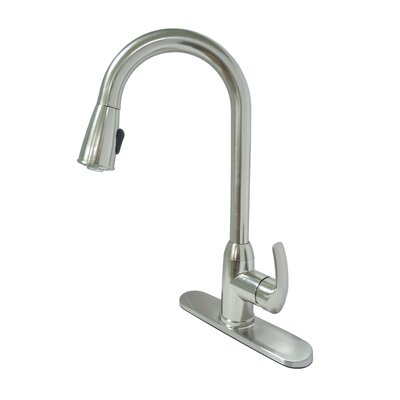 Pull Down Single Handle Kitchen Faucet Finish: Brushed Nickel