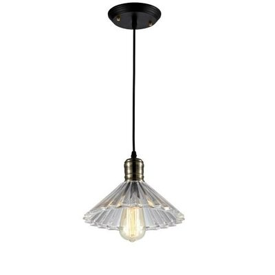 Edison Ribbed Glass 1 Light Mini Pendant