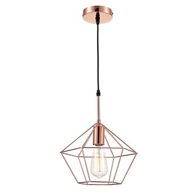 Zeshoek Hanging Cage 1 Light Foyer Pendant Finish: Pink