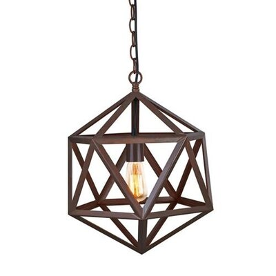 Edison Polyhedron Hanging Cage Chain 1 Light Foyer Pendant
