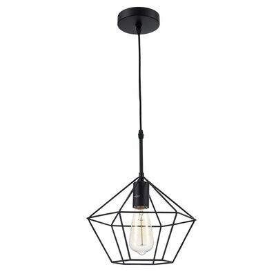 Zeshoek Hanging Cage 1 Light Foyer Pendant Finish: Black