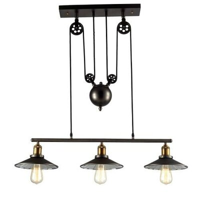 Edison Hanging Vintage Barn 3 Light Kitchen Island Pendant