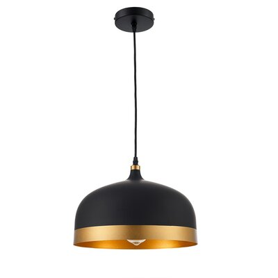 Lisse Saturn 1 Light Inverted Pendant Finish: Black