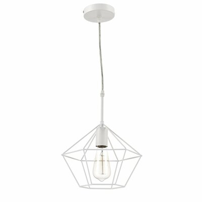Zeshoek Hanging Cage 1 Light Foyer Pendant Finish: White