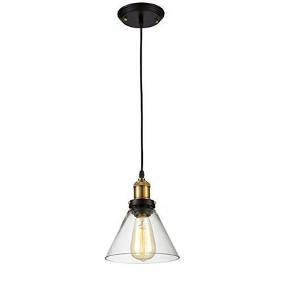 Edison Simple Glass Shade Hanging Funnel Vintage 1 Light Mini Pendant
