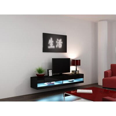 Ramsdell 80 TV Stand Color: Black/Black