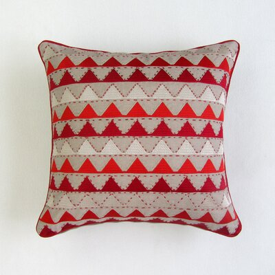 Levy Square Decorative 100% Cotton Pillow Cover Color: Red/Tan