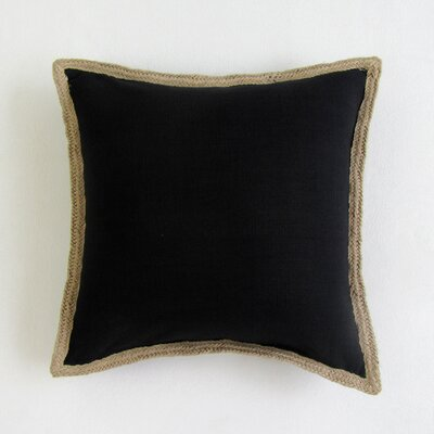 Amd Square Decorative 100% Cotton Pillow Cover Color: Black