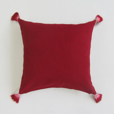 Scheller Square Solid Decorative 100% Cotton Pillow Cover Color: Red