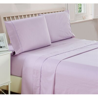 Harpe Superior Checkered Microfiber 4 Piece Sheet Set Size: Full, Color: Lavender
