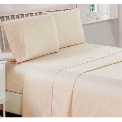 Harpe Superior Checkered Microfiber 4 Piece Sheet Set Size: King, Color: Vanilla