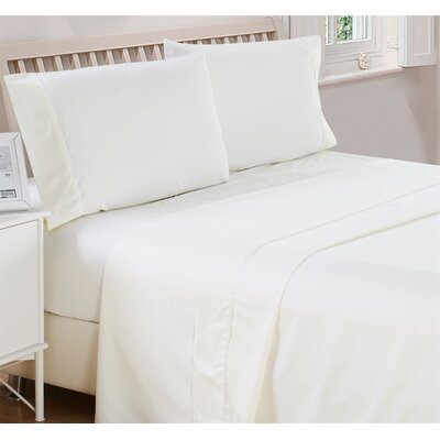 Harpe Superior Checkered Microfiber 4 Piece Sheet Set Size: Full, Color: White