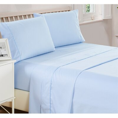 Harpe Superior Checkered Microfiber 4 Piece Sheet Set Size: King, Color: Blue