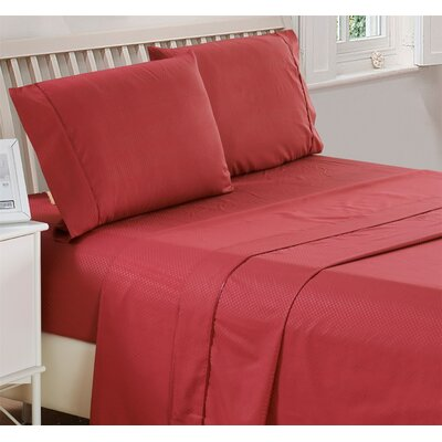 Harpe Superior Checkered Microfiber 4 Piece Sheet Set Size: King, Color: Burgundy