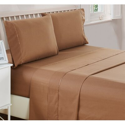 Harpe Superior Checkered Microfiber 4 Piece Sheet Set Size: Full, Color: Brown