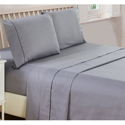 Harpe Superior Checkered Microfiber 4 Piece Sheet Set Size: Twin, Color: Gray