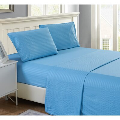 Harvard Stripe Microfiber 4 Piece Sheet Set Size: King, Color: Blue