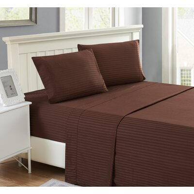 Harvard Stripe Microfiber 4 Piece Sheet Set Size: King, Color: Brown