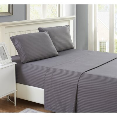 Harvard Stripe Microfiber 4 Piece Sheet Set Size: Full, Color: Dark Gray