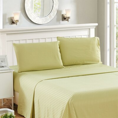 Harvard Stripe Microfiber 4 Piece Sheet Set Size: Queen, Color: Green