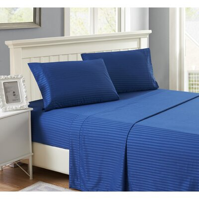 Harvard Stripe Microfiber 4 Piece Sheet Set Size: King, Color: Navy Blue