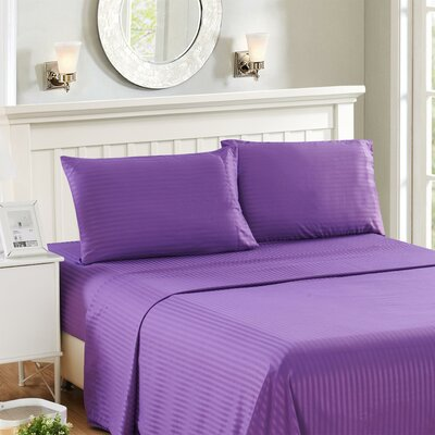 Harvard Stripe Microfiber 4 Piece Sheet Set Size: King, Color: Purple