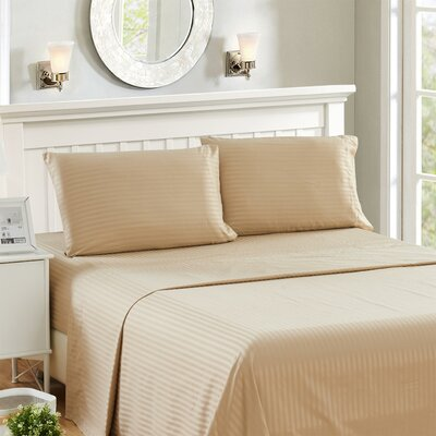 Harvard Stripe Microfiber 4 Piece Sheet Set Size: King, Color: Taupe